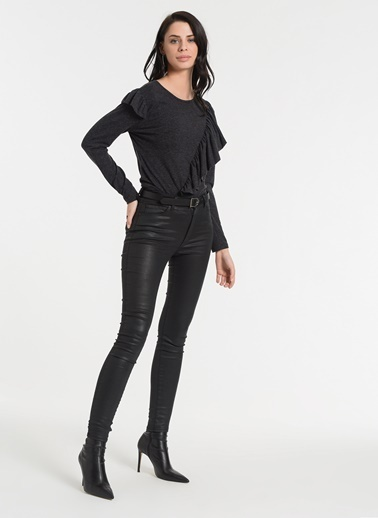 Styletag Volanlı Bluz Antrasit